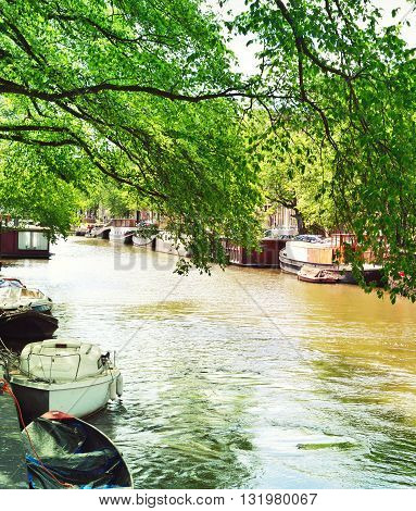 Canal of Amsterdam with green trees and boats anchored at the canal. Idyllic water street in Amsterdam, the Netherlands.