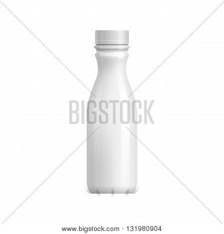 Plastic bottle template. Milk, yogurt or juice packaging. Blank bottle packaging isolated on white background. Package template. Realistic 3d bottle pack mockup. Plastic packaging layout. Drink plastic bottle. Packaging for design. Milk or juice pack.