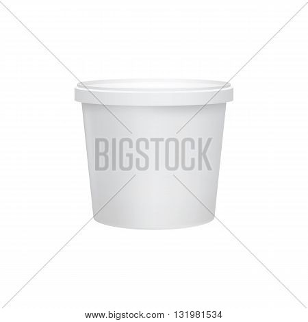 Blank food tube bucket for dessert or cream soup. 3d realistic food packaging. Plastic container for liquid products. Vector packaging. Mock up layout design. Packaging template. Food plastic tub bucket container vector isolated. Plastic packaging.