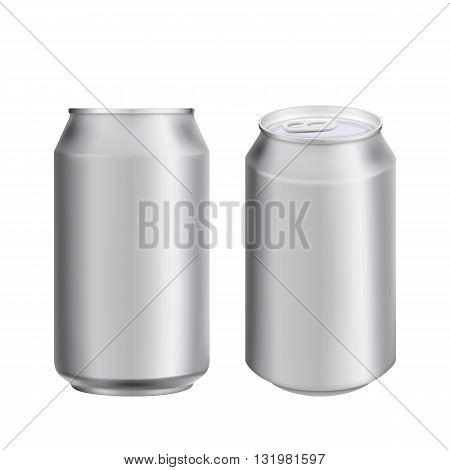 Two aluminum can for drink. Drink can. Blank aluminum can for beer or water. Isolated aluminum can. Soda can. Aluminium can beer. Coffee can vector. Aluminum can mockup. Realistic can mockup. Blank beer can. Drink package. Can for drink design.