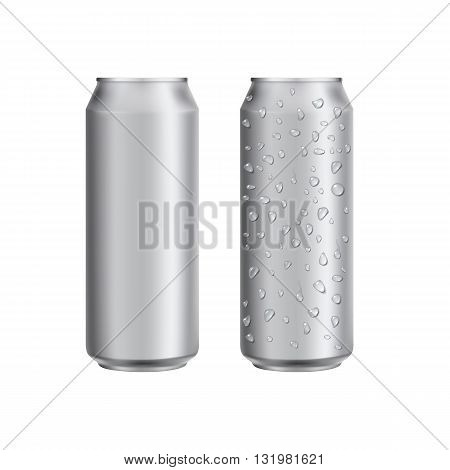 Aluminum can with water drop. Drink can. Blank aluminum can for beer or water. Isolated aluminum can. Soda can. Aluminium can beer. Coffee can vector. Aluminum can mockup. Realistic can mockup. Blank beer can. Drink package. Can for drink design.