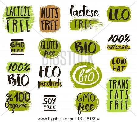 Healthy food icons, labels. Low fat icon. Organic tags. Natural product elements. Logo for vegetarian restaurant menu. Vector illustration. Lactose free sign. Low fat stamp. Soy free. Eco product. Bio icon. Eco icon.