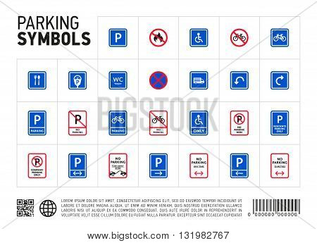 Parking zone sign isolated icon set. Transport zona symbol. Traffic area. Roadsign collection.