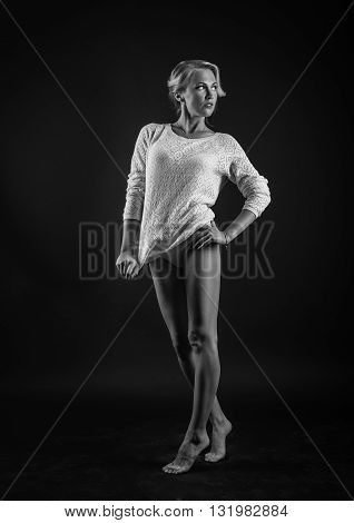Fashion photo of beauty woman on dark background.