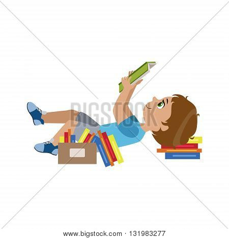 Boy Laying On The Back Reding Colorful Simple Design Vector Drawing Isolated On White Background
