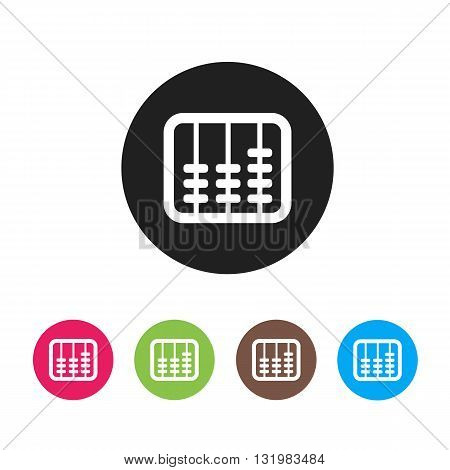 Retro old abacus icon. Colored abacus icon in material design style. Vector
