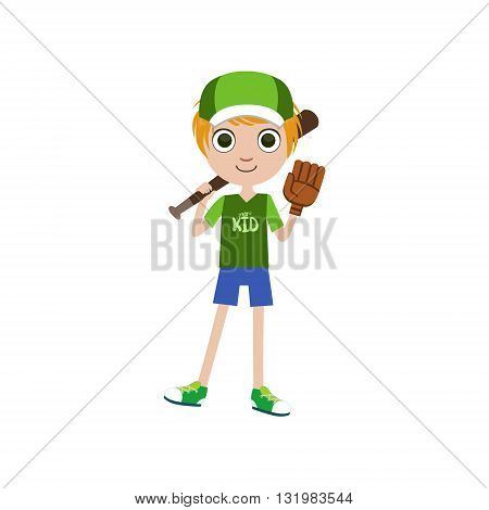 Boy Baseball Player Simple Design Illustration In Cute Fun Cartoon Style Isolated On White Background