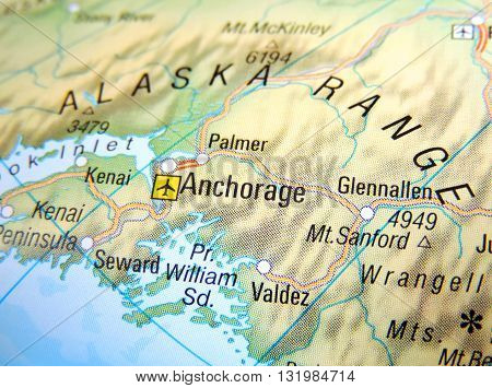 Map of Anchorage, Alaska Range. Map of Alaska with focus on Anchorage.