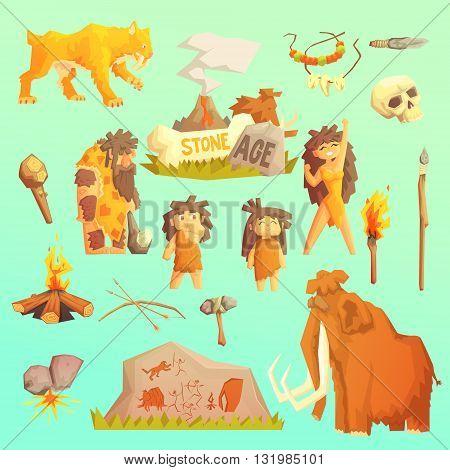Life stone age Primitive man Ice age Cavemen. Stone age. Neanderthals. Homo sapiens. Extinct species. Evolution. Hunting. Flat design.