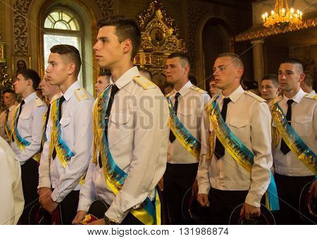LUTSK UKRAINE - MAY 27 2016: Blessing students of the Lutsk military lyceum in the Orthodox Church