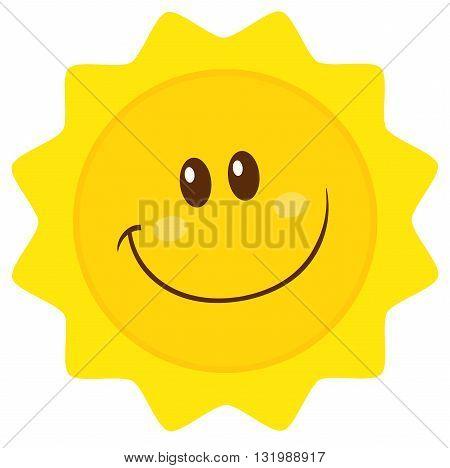 Smiling Sun Cartoon Mascot Character Simple Flat Design