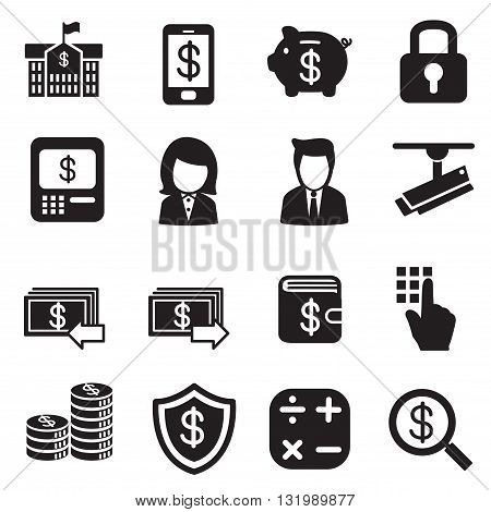 silhouette Money finance banking Investment Internet banking icons set