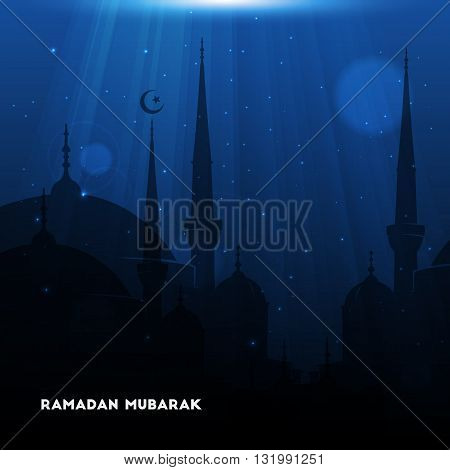 Vector Illustration of Mosque. Ramadan Mubarak. Eid Mubarak greeting card design for holy month of muslim community Ramadan Kareem