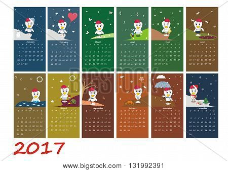 Calendar For 2017 Year With Rooster - Chinese Symbol Of New Year. Week Starts On Sunday. Vector Illu
