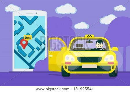 Taxi service. Flat yellow taxi with a driver. The car with the door open. car front view. Flat mobile phone with a label on the map. Application for taxi online. Vector clipart graphics