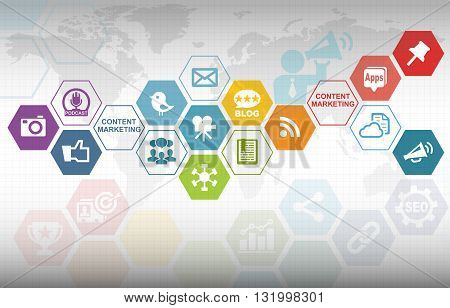 Content Marketing Advertising Analytics Business Background with various icons