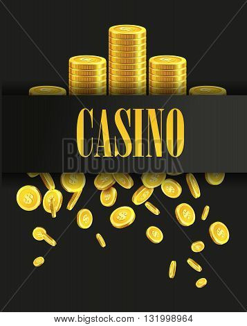 Casino Poster Background or Flyer with Golden Money Coins. Vector Template. Casino Banner. Casino Games Gambling Template background.