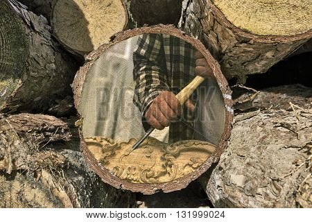 Part Of Woodpile And Woodworker At Work Painted On Texture