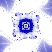 An elegant blue computer generated fractal shaped like an octagon with lacy protuberances surrounded by four leaf shapes. poster