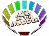 Lets Meet in the Middle Doors Compromise Agreement 3d Illustration poster