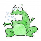 freehand textured cartoon burping frog poster