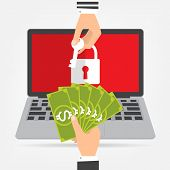 Businessman hand holding money banknote for paying the key from hacker for unlock laptop got ransomware malware virus computer. Vector illustration technology data privacy and security concept. poster