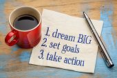 dream big, set goals, take action - inspirational handwriting on a napkin with a cup of coffee poster