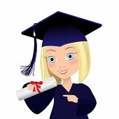 Vector illustration of graduating young student. Cute girl in graduate gown and mortarboard squeare academic cap in cartoon style. poster