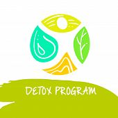 Vector logo detox program diet and holistic nutrition on white background. Hand-drawn illustration for fresh health food and drinks in cafe restaurant. poster