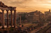 Rome, Italy: the Temple of Saturn, Latin: Templum Saturni or Aedes Saturnus, Italian: Tempio di Saturno in the Roman Forum, Latin: Forum Romanum, Italian: Foro Romano poster