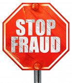 stop fraud, 3D rendering, a red stop sign poster