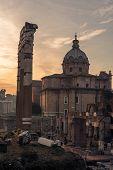 Rome, Italy: The Roman Forum, Latin: Forum Romanum, Italian: Foro Romano, in the sunrise. Santi Luca e Martina Church poster