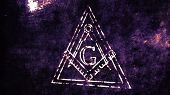 The Free Masonic Grand Lodge Sign and Illuminati Secret Characters in an Abstract Drawing Grungy Design Editorial Illustration poster