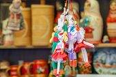 Puppets on a string. Showcases counter located on the Arbat in the city of Cheboksary. poster