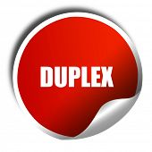 duplex, 3D rendering, a red shiny sticker poster