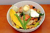 Vegetable scraps in a white plastic bowl bio waste carrots cesium potato peels leek poster