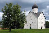 orthodox church of twelfth century in novgorod russia with frescos of feofan grek poster