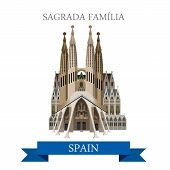 Sagrada Familia Gaudi Basilica Temple Holy Family in Barcelona Spain. Flat cartoon style historic sight web illustration world countries vacation travel tourist sightseeing collection poster