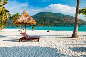 Empty wooden beach chairs with parasol on the beach with coconut tree in Phuket Thailand with parasol on the beach with coconut tree in Phuket Thailand poster
