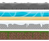 Illustration of a set of seamless grounds soils and land foreground area with ice desert beach sand roots and grass layers and patterns for ui game. Seamless grounds soils and land vector set. poster