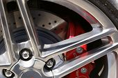 sport car brakes and wheels with chrome nuts poster