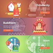 Christianity. Buddhism religion. Buddhistic culture. Islam religion. Muslim culture. Religion and confessions banners set. Vector design concept. poster