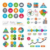 Wifi, calendar and web icons. Statistics, accounting icons. Charts, presentation and pie chart signs. Analysis, report and business case symbols. Diagram charts design. poster