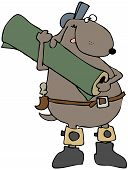 This illustration depicts a dog with knee pads and carrying a roll of carpet. poster