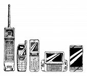 Mobile phone evolution set. Vector illustration in ink hand drawn style. Mobile phone form factor: brick phone bar phone flip phone wide slider phone touchscreen smartphone. poster