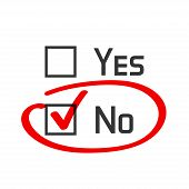 No checked with red marker line no selected with red tick and circled yes no concept of motivation voting test negative answer poll selection choice modern vector illustration design on white poster