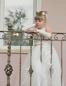 little girl in a ball gown on the balcony poster