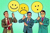Protesters with placards Emoji joy sadness surprise pop art retro vector. Political protest. Emoji political poster poster