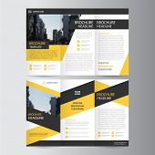 Yellow Black triangle business trifold Leaflet Brochure Flyer report template vector minimal flat design set, abstract presentation layout templates a4 size poster