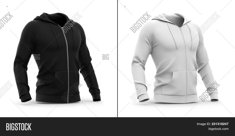 Mens Zip Up Hoodie Sweatshirt With Pockets Half Front View 3d